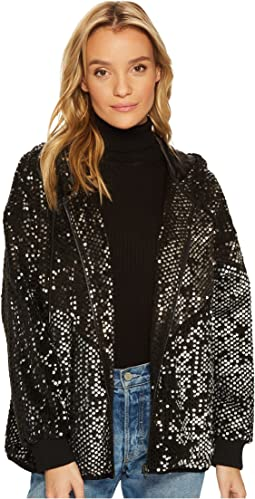 Blank NYC - Silver Studded Sequined Bomber Jacket in Black Light