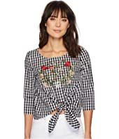 ROMEO & JULIET COUTURE - Embroidered Front and Gingham Smock Waist Top
