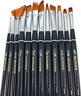 Professional Artist Paint Brushes 12 Pieces Set No Shed Bristles Wood Handles, for Body Paint Acrylics & Oil Paint Brushes