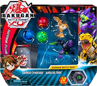 Bakugan Battle Pack 5-Pack, Darkus Cyndeous & Aurelus Trox, Collectible Cards &..