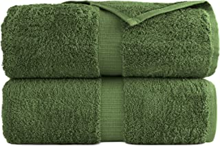 100% Luxury Turkish Cotton, Eco-Friendly, Soft and Super Absorbent 35'' x 70'' Large Bath Sheets (Moss, Set of 2)