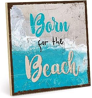 """Placa de madera con frase en inglés """"Beach - Vintage - Regalo y decoración temática de playa, vacaciones y relajación (tam..."""