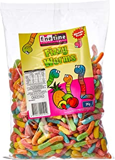 Finetime Fizzy Worms Lollies, 2 Kilograms