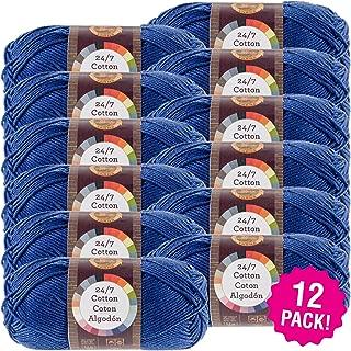 Lion Brand 98684 24/7 Cotton Yarn-12/Pk-Navy, 12/Pk Navy Pack