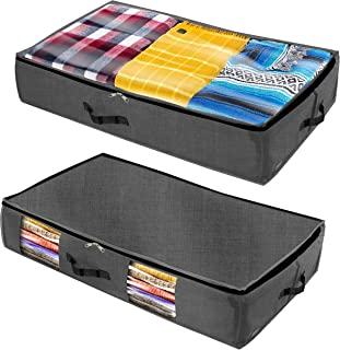 Homenery Under Bed Storage (2 Styles Pack) - Sturdy 4 sidewalls with Cardboard - 1 Clear Top & 1 Side Window - Wear & Water Resistant Plastic Fabric Underbed Storage Containers