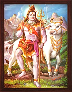Handicraft Store Shiva with his Cow Nandi and His Weapon Trishul in Himalaya, A Poster Painting with Frame for Hindu Religious Worship Purpose