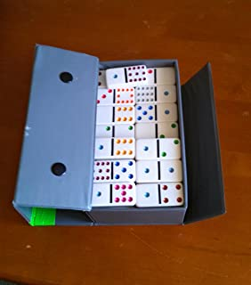 VINTAGE 55 Ivory Colored Dot Dominoes by Cardinal in Gray Vinyl Snapped Case
