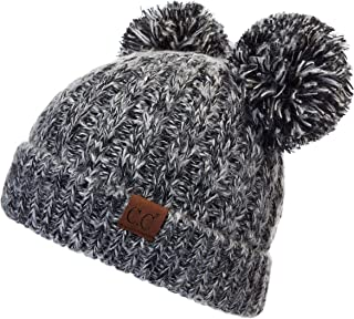 Hatsandscarf Exclusives Cable Knit Double Pom Winter Beanie (HAT-60)(HAT-23)