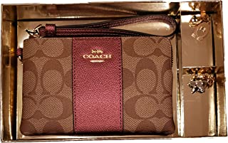 Coach Boxed Corner Zip Wristlet with 2 Detachable Charms