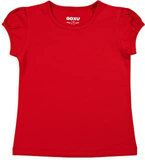 Girls' Basic Short Puff Sleeve Round Neck Cotton T-Shirt