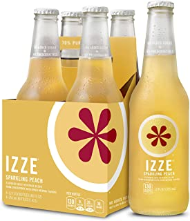 IZZE Sparkling Juice, Peach, 12 oz Glass Bottles, 4 Count