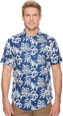 Nautica - Short Sleeve Floral Print Linen Shirt