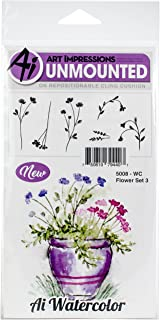 Art Impressions 5008 Watercolor Cling Rubber Stamps Flower, Multicolor