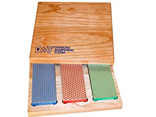 DMT W6EFC Three 6-Inch Diamond Whetstone Models in Hard Wood Box