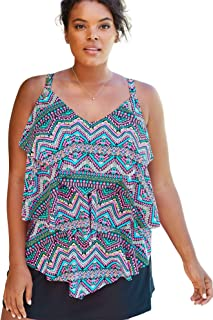 Swimsuits For All Women's Plus Size Tiered-Ruffle Tankini Top