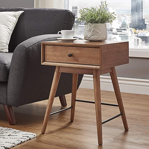 Inspire Q Aksel Brown Wood 1 Drawer End Table Modern