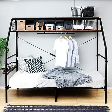 [山善] ベッド ぐうたらベッド (コンセント・ハンガーバー・上棚2段・宮付き) ベッドフレーム シングルベッド 一人暮らし 組立品 ブラック BGB298219BK