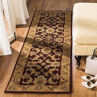 "Safavieh Classic Collection CL244B Handmade Traditional Oriental Dark Plum and Gold Wool Runner (2`3"" x 8`)"