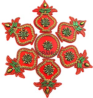 PRAHLL Acrylic Reusable Kalash Shape Rangoli (Red_Standard)- Set of 7