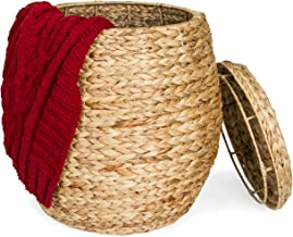 Best Choice Products Multipurpose Handcrafted Seagrass Wicker Basket Accent for Seat, Storage, Laundry w/Lid, Brown