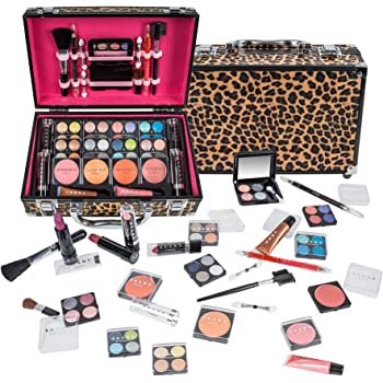 SHANY Carry All Makeup Train Case with Pro Makeup and Reusable Aluminum Case - Leopard