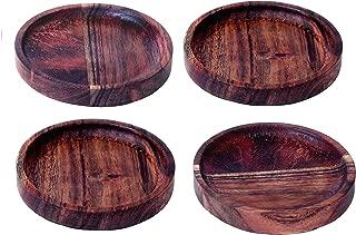 Kaizen Casa Round Natural Acacia Wood Stackable Coaster,3-3/4