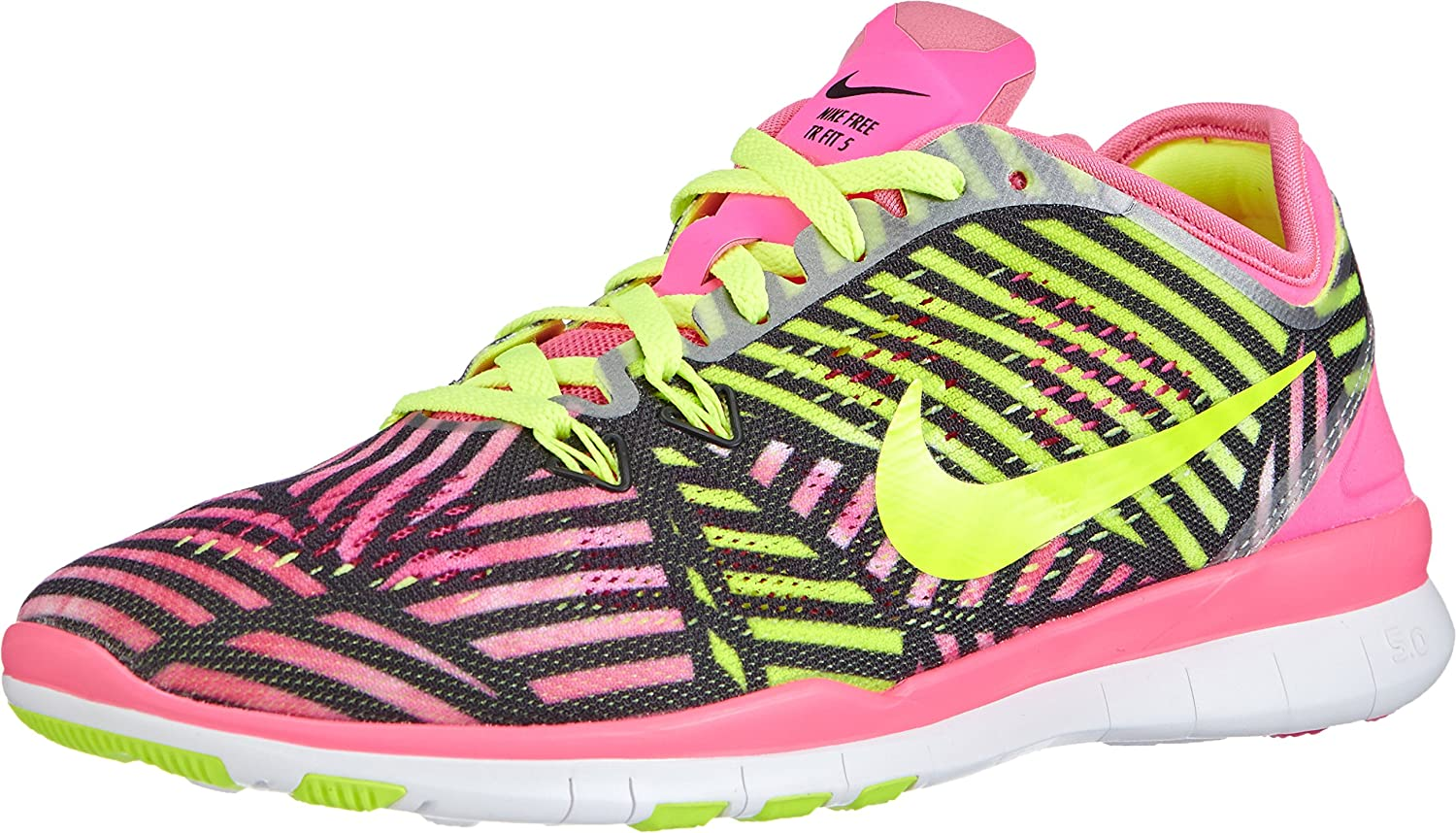 Nike womens free 5.0 TR FIT 5 PRT running trainers 704695 sneakers shoes (uk 4.5 us 7 eu 38, pink power volt black 600)