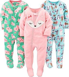Simple Joys by Carter's Pijama de Forro Polar Resistente al Fuego, 3 Unidades, con pies, Oso Polar, Cerdos/Zorro, 4T