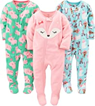 Simple Joys by Carter`s Baby and Toddler Girls` 3-Pack Loose Fit Fleece Footed Pajamas