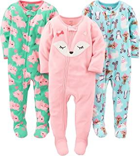 """Simple Joys by Carter""""s Baby-Mädchen 3-Pack Loose Fit Flame Resistant Fleece Footed Pajamas, 3er-Pack"""