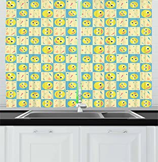 Lunarable Cartoon Kitchen Curtains, Smiley Faces with Exclamation Point Dots Stars and Thumbs up on Checkered Backdrop, Window Drapes 2 Panel Set for Kitchen Cafe Decor, 55