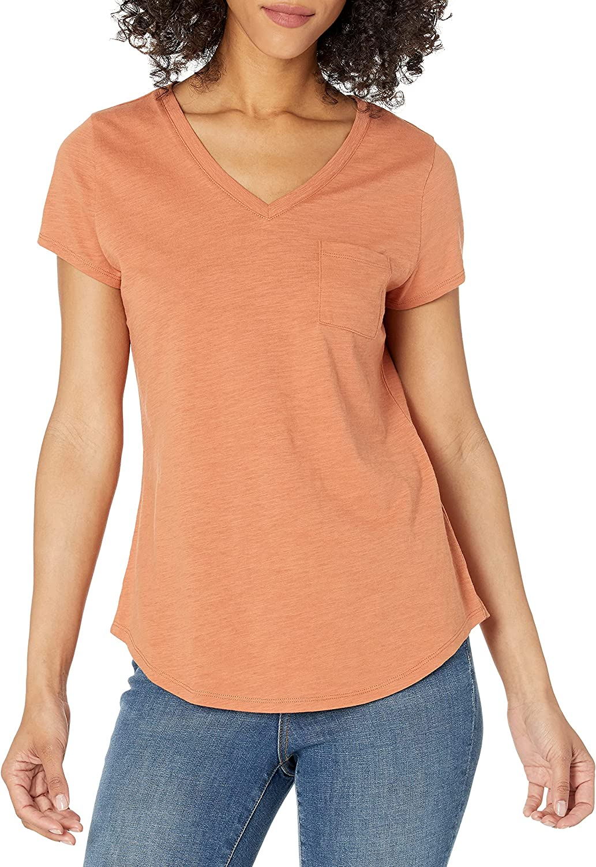 Amazon Brand - Goodthreads Women's Vintage Cotton Roll-Sleeve V-Neck T-Shirt