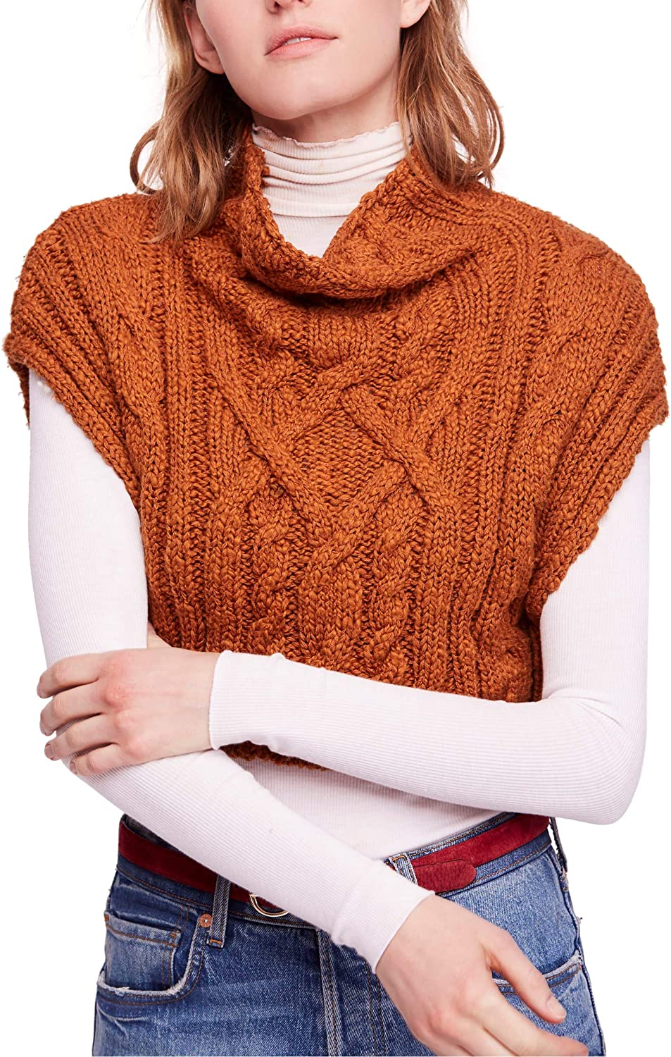 Bargain Free People Womens cheap Cable Knit Cropped Sweater