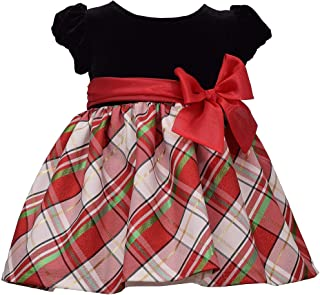 Short Sleeve Christmas Dress Black Velvet and White Tartan Plaid Skirt