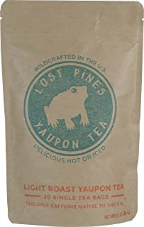 20 Tea Bags - Light Roast Yaupon Tea - Lost Pines Yaupon Tea - Sustainably wild harvested yaupon, the only caffeinated plant native to North America. …