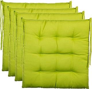 BrandssellerCojín decorativo de asiento para silla de jardín, 9 pespuntes, varios diseños, poliéster, verde, 4er-Paket