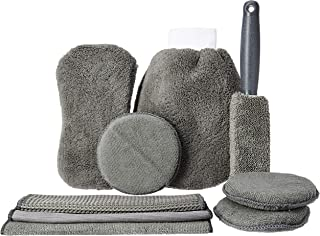 Amazon Brand - Solimo Car Cleaning Kit (Set of 9, Grey)