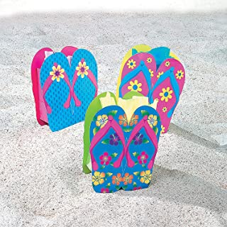 Fun Express - Flip Flop Gift Bags for Spring - Party Supplies - Bags - Paper Gift W & Handles - Spring - 12 Pieces