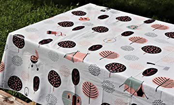 "Crabtree Collection Vinyl Tablecloth: Indoor/Outdoor Dining Flannel Backed Table Cover| Home, Restaurant, Party Tablecloth| Easy to Clean & Sturdy| Picnic, BBQ, Fun Print Tablecloth (Camping 60""x84"")"