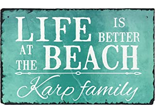 Sassy Squirrel Handcrafted and Personalized Slate House Sign - Life is Better at The Beach (12