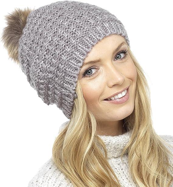 Foxbury Womens Warm Plush Fluffy Ladies Beanie Hat With Pom Pom Blue Pink Grey