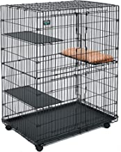 Midwest Cat Playpen | Cat Cage Includes 3 Adjustable Perching Shelves & 1 Shelf-Attaching Cat Bed & Wheel Casters | Ideal for 1-2 Cats | Cage Measures 36L x 23.5W x 50.50H Inches