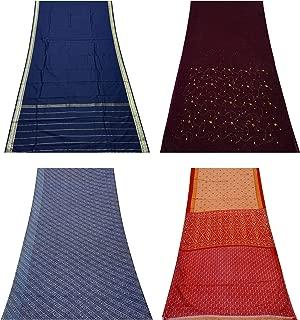 Peegli Vintage Indian Saree Multicolor Wholesale Bundle Sari Lot of 4 Home Décor Throw Assorted DIY Fabric Curtain Drape Used Sari DIY Sewing Craft Fabric