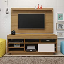 Artely Roma TV Table and Wall Panel for 47 inch TV, Freijo Brown/ Freijo Brown with Off White, Panel: W 140 cm x D 1.5 cm ...