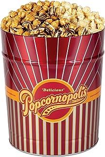 Popcornopolis Gourmet Popcorn 3.5 Gallon Tin - Premium Including Zebra, Caramel and Kettle Corn