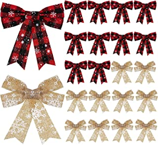 WILLBOND 20 Pieces Red Buffalo Plaid Bow Christmas Snowflake Burlap Bows Rustic Holiday Decorative Bows for Christmas Tree Wreath Crafts DIY Bow Decoration