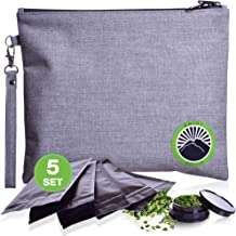 Upgraded New 2019 Smell Proof Bag - Odor Proof Bag - Dog Tested Bags 11x9 - Best Odor Proof Pouch Zipper on Top Smell Proof Case for Herbs Coffee Tea Oils 5 Sealed Baggies - Smell Proof Container