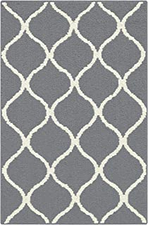 Maples Rugs Rebecca 2'6 x 3'10 Non Skid Small Accent Throw Rugs [Made in USA] for Entryway and Bedroom, Grey/White