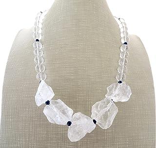 Collana con quarzo trasparente, lapislazzuli blu e cristallo di rocca, collana con pietre dure, gioielli moderni, bijoux a...