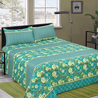 Microfiber Double Bed Sheet with (238 x 241 cm) 2 Pillows - Soft, Silky Brushed & Wrinkle free Bedsheet Set.
